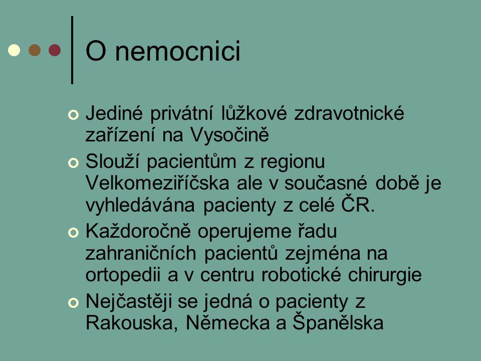 O nemocnici Jediné privátní lůžkové zdravotnické zařízení na Vysočině Slouží pacientům z regionu Velkomeziříčska ale v současné době je vyhledávána pacienty z celé ČR.