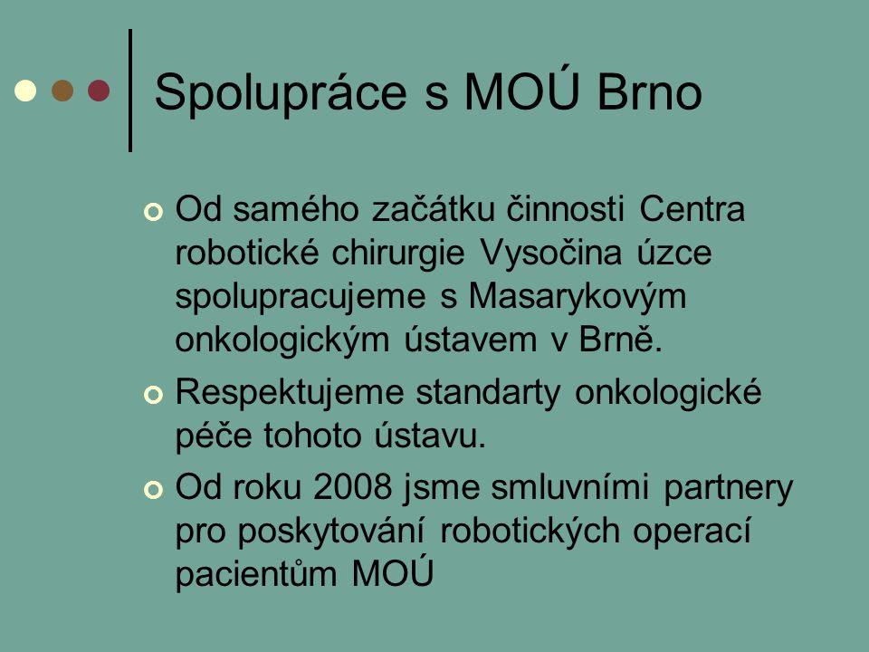 Spolupráce s MOÚ Brno Od samého začátku činnosti Centra robotické chirurgie Vysočina úzce spolupracujeme s Masarykovým onkologickým ústavem v Brně.