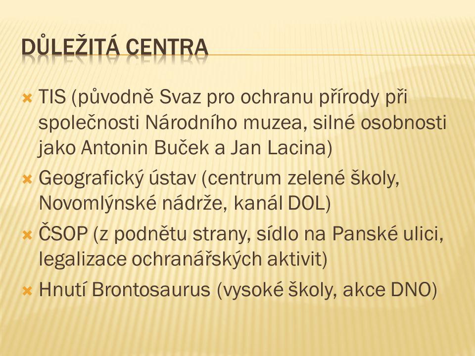  TIS (původně Svaz pro ochranu přírody při společnosti Národního muzea, silné osobnosti jako Antonin Buček a Jan Lacina)  Geografický ústav (centrum zelené školy, Novomlýnské nádrže, kanál DOL)  ČSOP (z podnětu strany, sídlo na Panské ulici, legalizace ochranářských aktivit)  Hnutí Brontosaurus (vysoké školy, akce DNO)