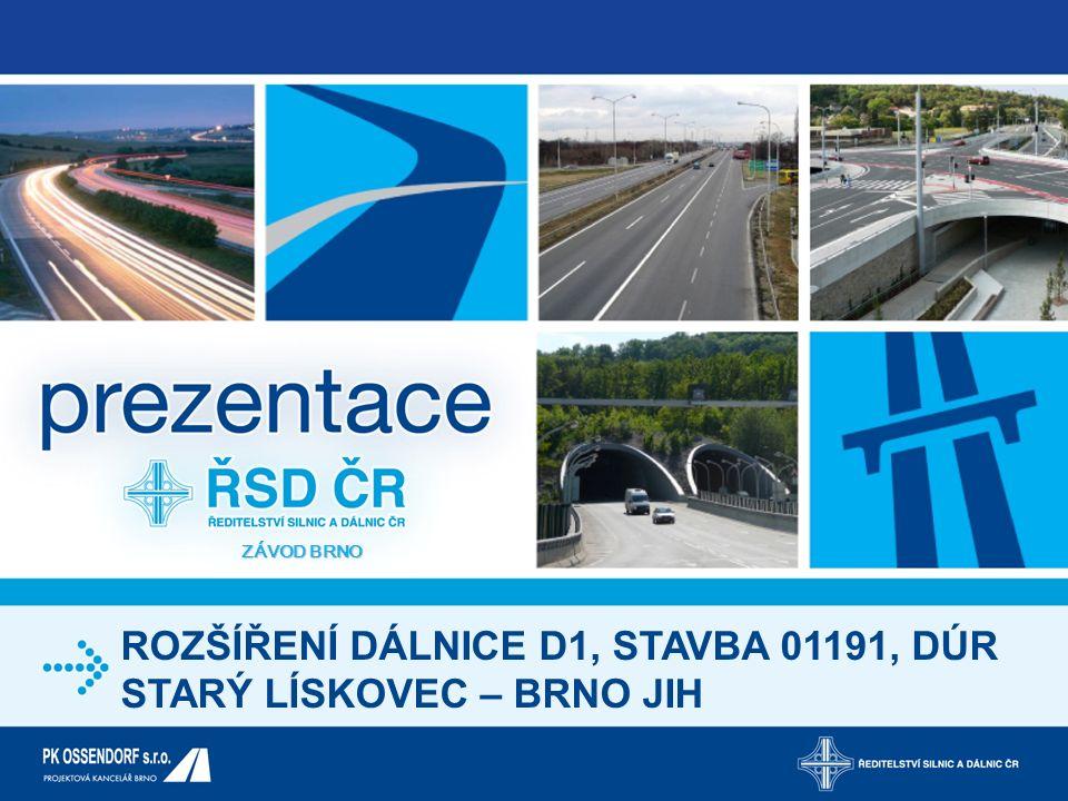 ROZŠÍŘENÍ DÁLNICE D1 KÝVALKA - HOLUBICE Představené rozšíření dálnice D1 v úseku Kývalka – Holubice vychází ze zpracovaných dokumentací pro územní rozhodnutí z období let 2005-2010.