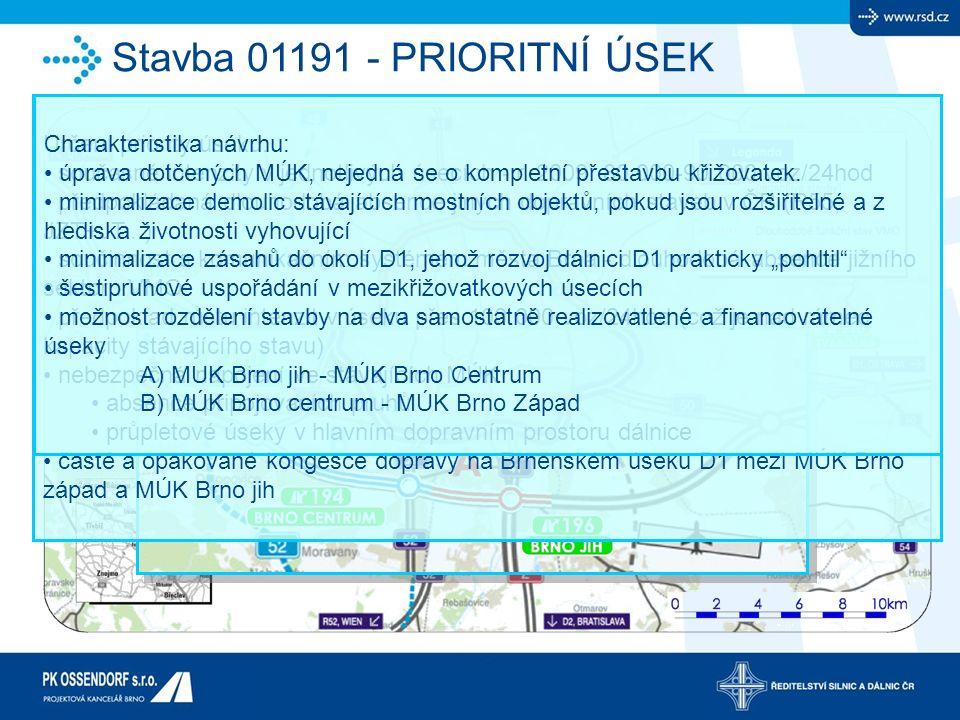 Stavba 01191 - PRIORITNÍ ÚSEK Určení priority úseku: současné intenzity v jednotlivých úsecích - r. 2009: 80 000-90 000 voz/24hod předpokládaná dlouho