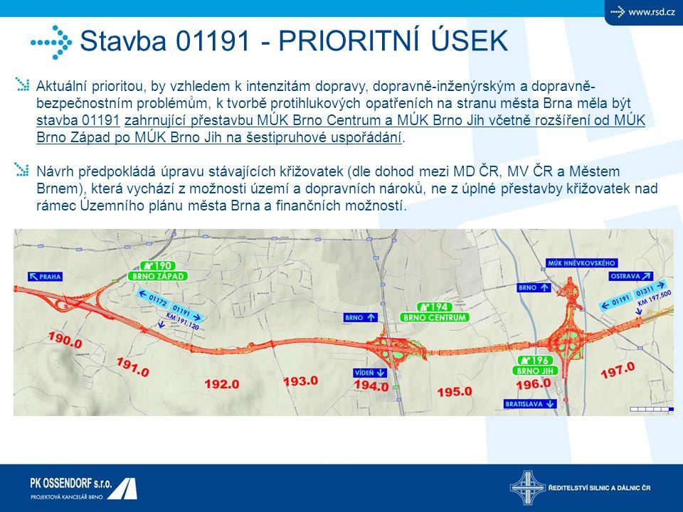 Aktuální prioritou, by vzhledem k intenzitám dopravy, dopravně-inženýrským a dopravně- bezpečnostním problémům, k tvorbě protihlukových opatřeních na stranu města Brna měla být stavba 01191 zahrnující přestavbu MÚK Brno Centrum a MÚK Brno Jih včetně rozšíření od MÚK Brno Západ po MÚK Brno Jih na šestipruhové uspořádání.
