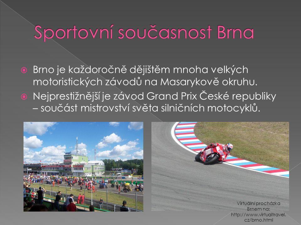  Brno je každoročně dějištěm mnoha velkých motoristických závodů na Masarykově okruhu.