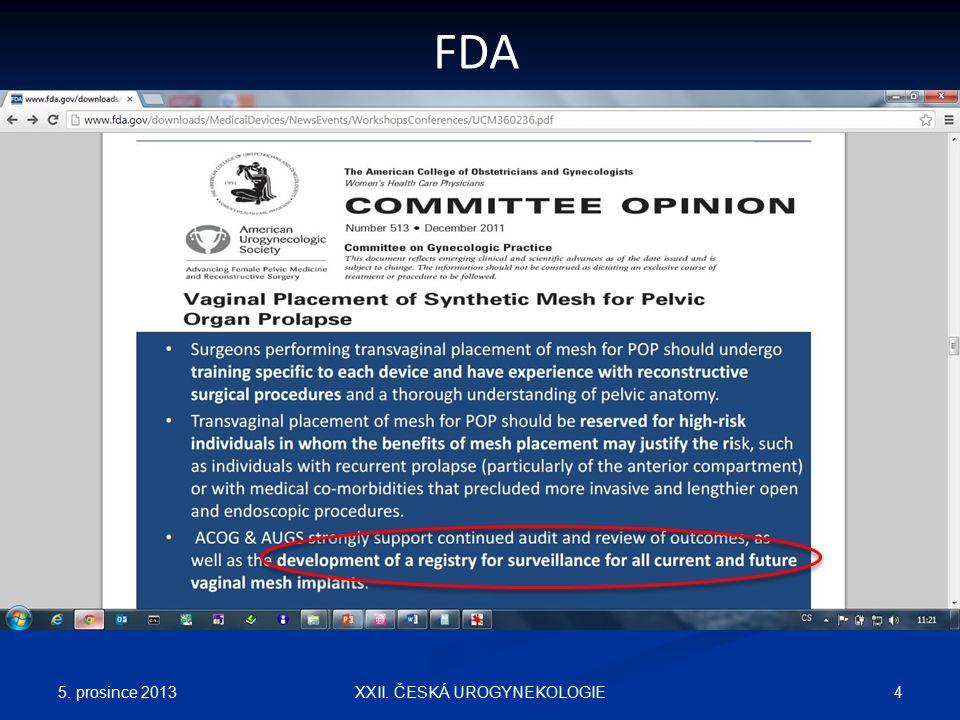 5. prosince 2013 4XXII. ČESKÁ UROGYNEKOLOGIE FDA