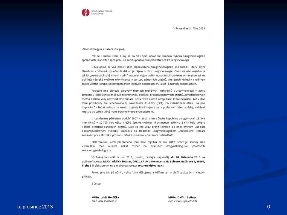 Registr za rok 2012 5. prosince 2013 6XXII. ČESKÁ UROGYNEKOLOGIE