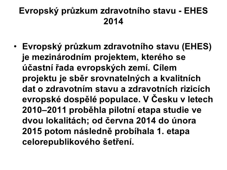 Evropský průzkum zdravotního stavu - EHES 2014 Evropský průzkum zdravotního stavu (EHES) je mezinárodním projektem, kterého se účastní řada evropských zemí.