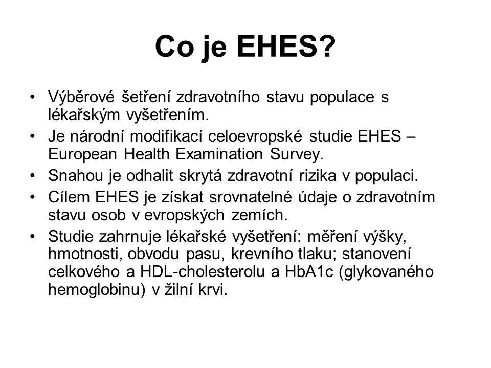 Východiska studie EHES Srdečně-cévní onemocnění způsobují téměř polovinu úmrtí v ČR a jsou jednou z hlavních příčin předčasných úmrtí (do 75 let).