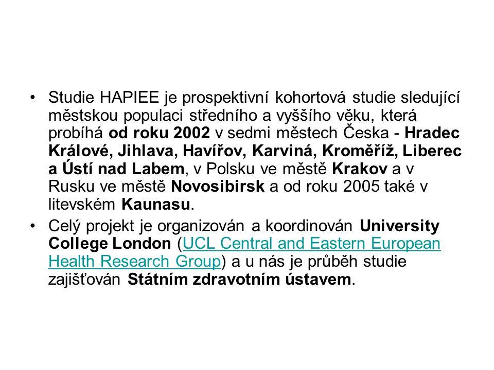 Studie HAPIEE je prospektivní kohortová studie sledující městskou populaci středního a vyššího věku, která probíhá od roku 2002 v sedmi městech Česka - Hradec Králové, Jihlava, Havířov, Karviná, Kroměříž, Liberec a Ústí nad Labem, v Polsku ve městě Krakov a v Rusku ve městě Novosibirsk a od roku 2005 také v litevském Kaunasu.