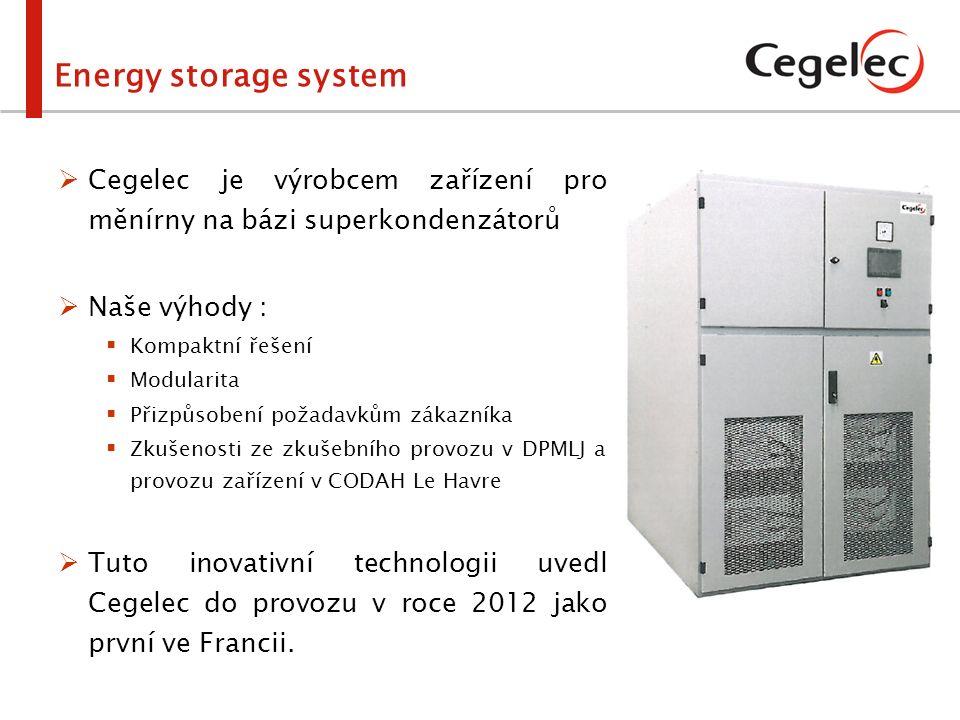  Výhody ESS:  Úspora elektrické energie  Stabilizace napětí  Modularita  Snadná instalace  Nezávislost na měnírně  Vysoký nabíjecí / vybíjecí výkon  Pravidelné vyhodnocování úspor elektrické energie  Nezávislost na vysokonapěťové síti Energy storage system