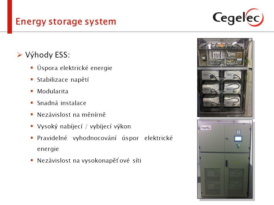  Výhody ESS:  Úspora elektrické energie  Stabilizace napětí  Modularita  Snadná instalace  Nezávislost na měnírně  Vysoký nabíjecí / vybíjecí v