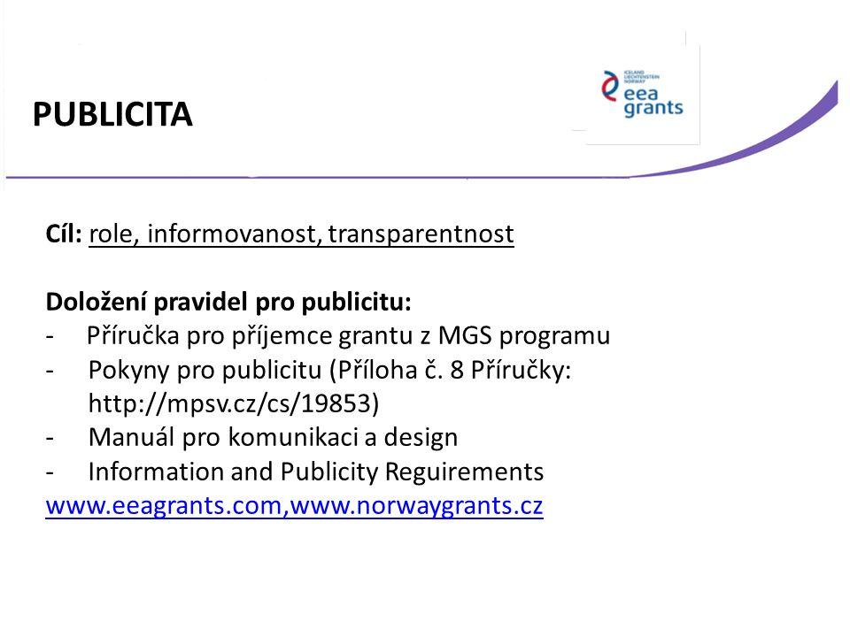 Cíl: role, informovanost, transparentnost Doložení pravidel pro publicitu: - Příručka pro příjemce grantu z MGS programu -Pokyny pro publicitu (Příloh