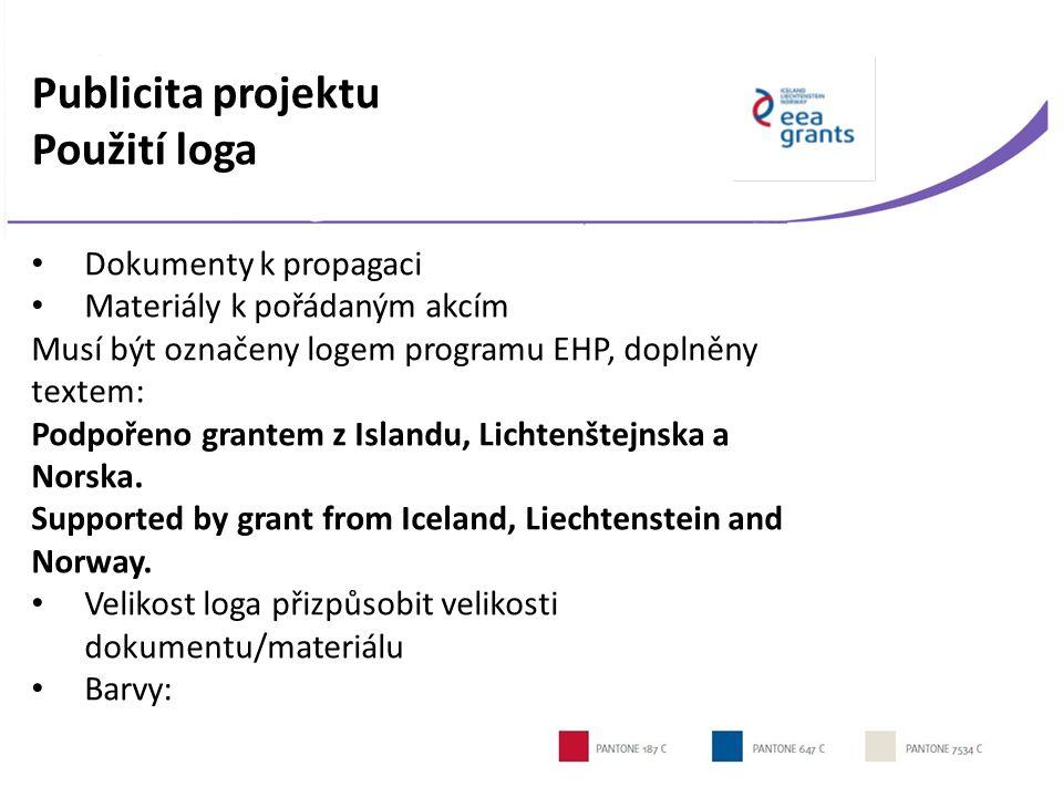 Publicita projektu Použití loga Dokumenty k propagaci Materiály k pořádaným akcím Musí být označeny logem programu EHP, doplněny textem: Podpořeno grantem z Islandu, Lichtenštejnska a Norska.