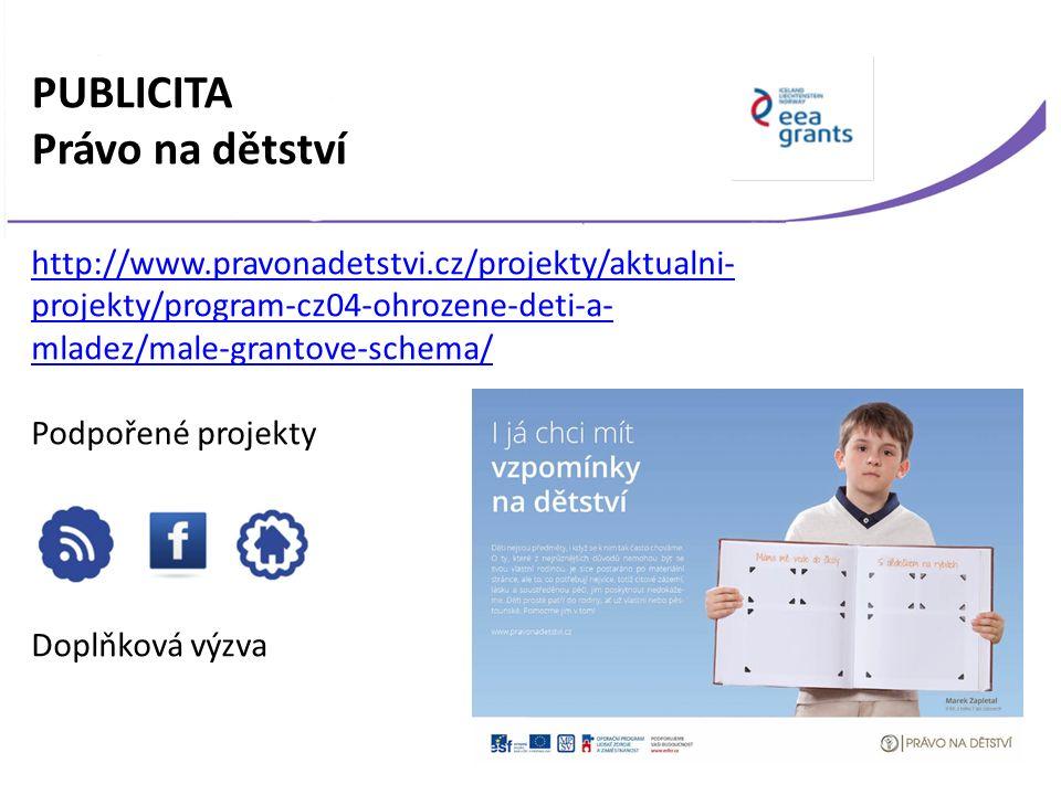 PUBLICITA Právo na dětství http://www.pravonadetstvi.cz/projekty/aktualni- projekty/program-cz04-ohrozene-deti-a- mladez/male-grantove-schema/ Podpořené projekty Doplňková výzva
