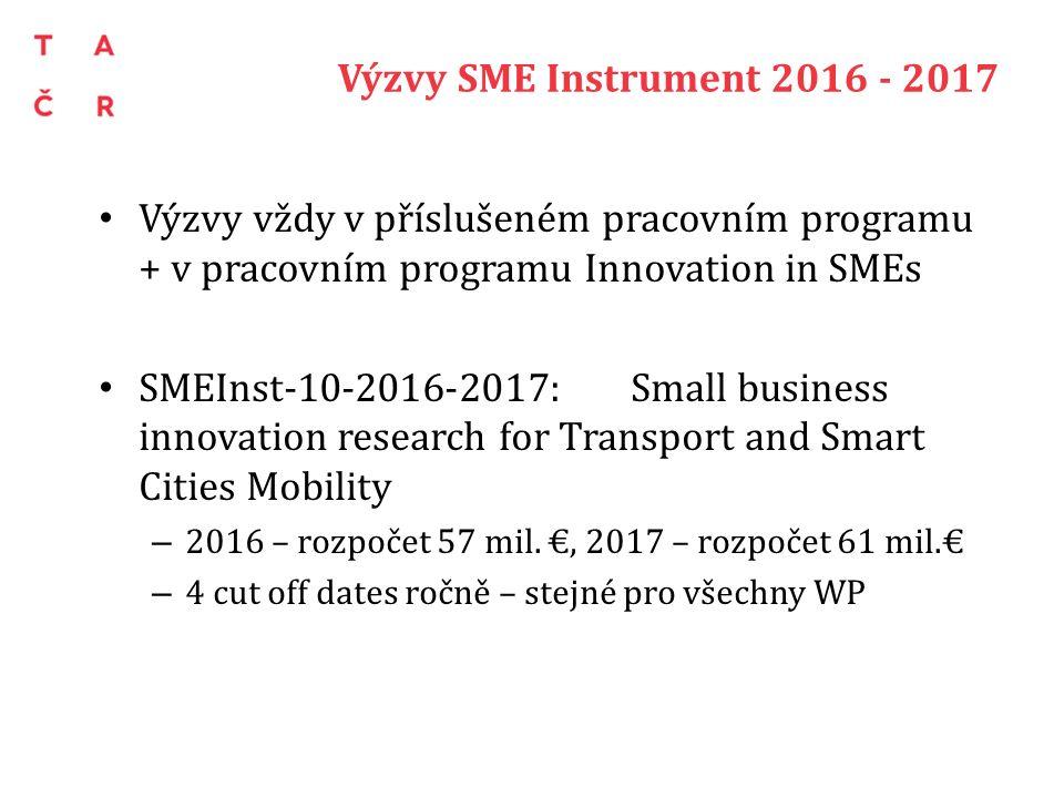 Výzvy SME Instrument 2016 - 2017 Výzvy vždy v příslušeném pracovním programu + v pracovním programu Innovation in SMEs SMEInst-10-2016-2017: Small business innovation research for Transport and Smart Cities Mobility – 2016 – rozpočet 57 mil.