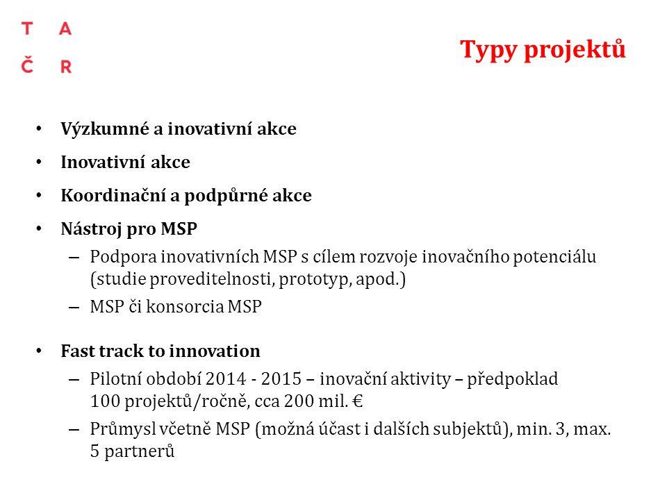 Typy projektů Výzkumné a inovativní akce Inovativní akce Koordinační a podpůrné akce Nástroj pro MSP – Podpora inovativních MSP s cílem rozvoje inovačního potenciálu (studie proveditelnosti, prototyp, apod.) – MSP či konsorcia MSP Fast track to innovation – Pilotní období 2014 - 2015 – inovační aktivity – předpoklad 100 projektů/ročně, cca 200 mil.