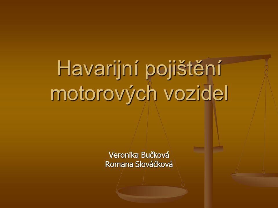 Havarijní pojištění Definice základních pojmů Definice základních pojmů Pojistné produkty Pojistné produkty Doplňková připojištění Doplňková připojištění Kritéria pro výběr pojišťovny Kritéria pro výběr pojišťovny Nabídka pojišťoven Nabídka pojišťoven - Česká pojišťovna, a.