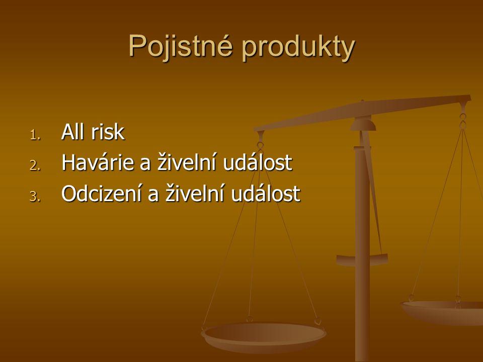 Pojistné produkty 1. All risk 2. Havárie a živelní událost 3. Odcizení a živelní událost