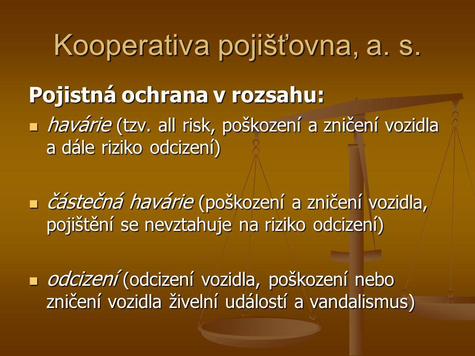 Kooperativa pojišťovna, a. s. Pojistná ochrana v rozsahu: havárie (tzv.