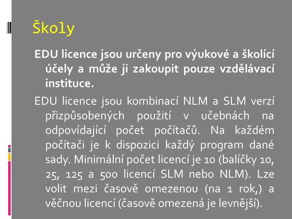 Školy EDU licence jsou určeny pro výukové a školící účely a může ji zakoupit pouze vzdělávací instituce. EDU licence jsou kombinací NLM a SLM verzí př