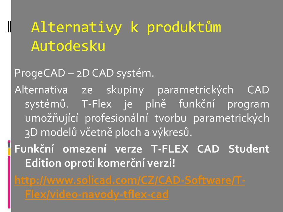 Alternativy k produktům Autodesku ProgeCAD – 2D CAD systém. Alternativa ze skupiny parametrických CAD systémů. T-Flex je plně funkční program umožňují
