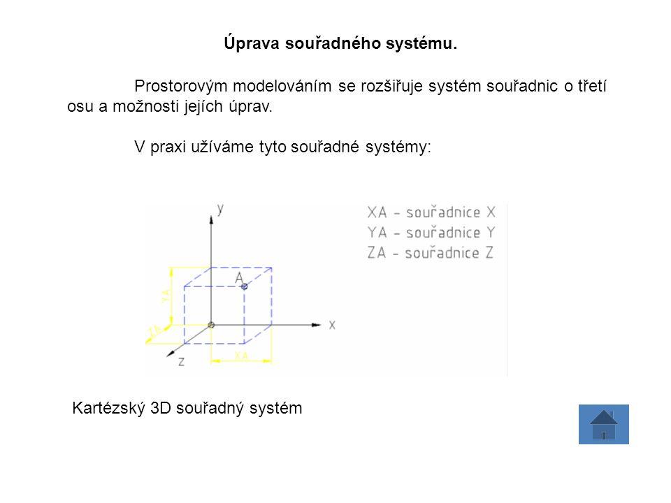 Prostorovým modelováním se rozšiřuje systém souřadnic o třetí osu a možnosti jejích úprav.