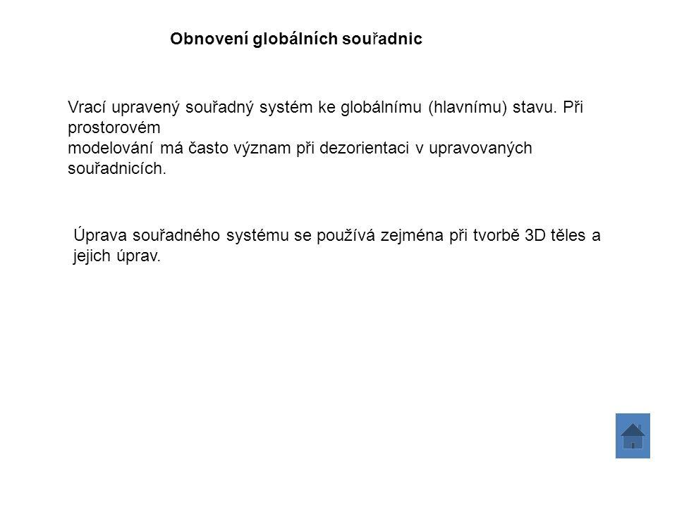 Obnovení globálních souřadnic Vrací upravený souřadný systém ke globálnímu (hlavnímu) stavu.