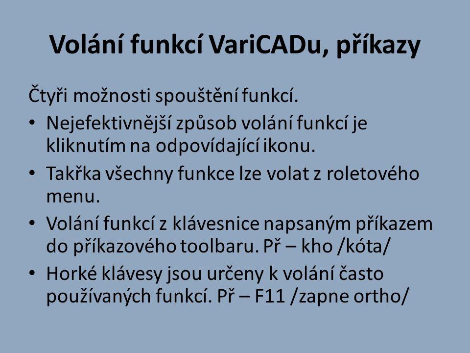 Volání funkcí VariCADu, příkazy Čtyři možnosti spouštění funkcí.
