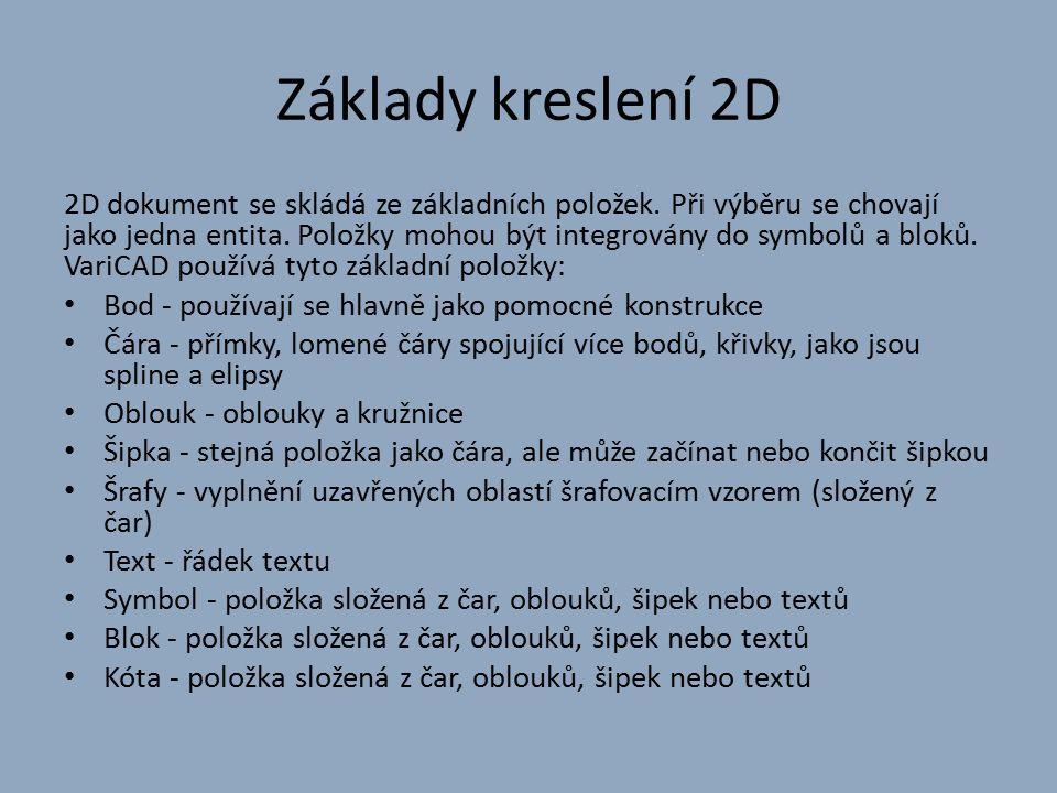 Základy kreslení 2D 2D dokument se skládá ze základních položek.