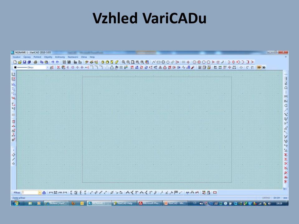 Okno VariCADu je rozděleno na tři části  Horní část obsahuje roletové menu.