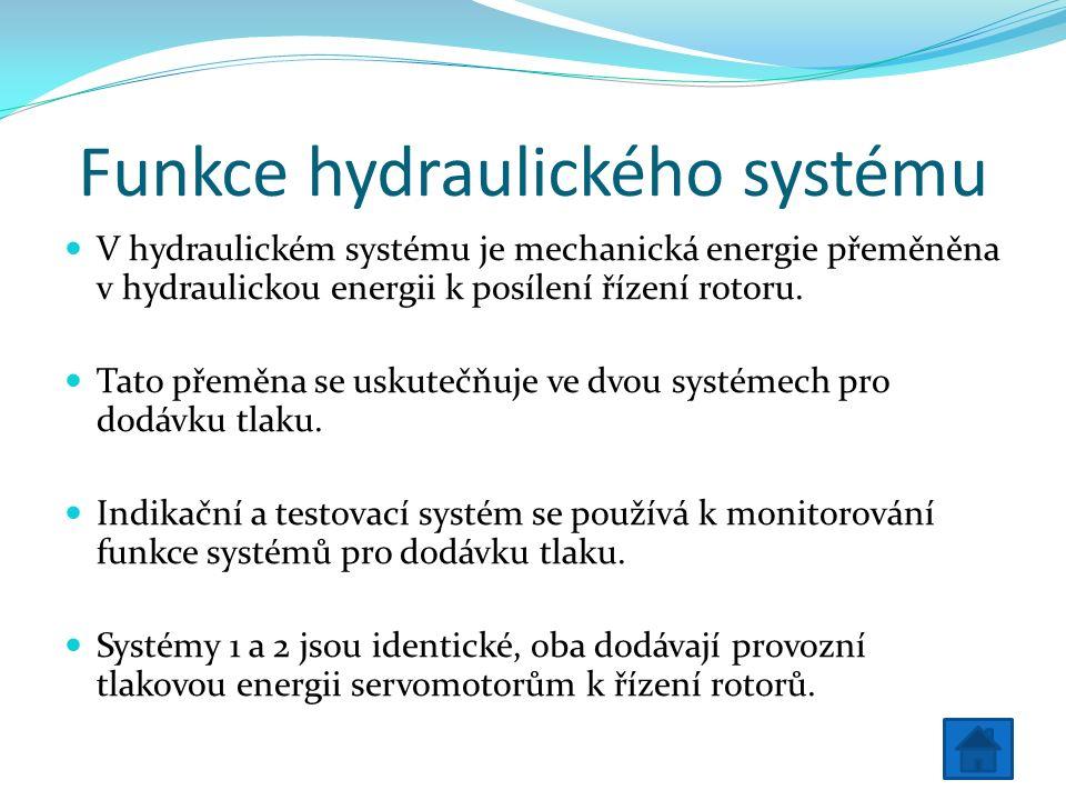 Funkce hydraulického systému V hydraulickém systému je mechanická energie přeměněna v hydraulickou energii k posílení řízení rotoru.