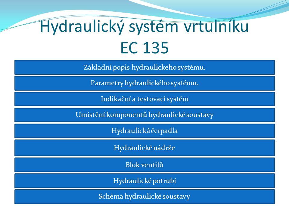 Základní popis hydraulického systému Hydraulický systém generuje tlakovou energii, která se je využívá pro řízení:  hlavního rotoru  zadního rotoru (Fenestronu) Hydraulické vedení rozvádí hydraulickou kapalinu k servomotorům.