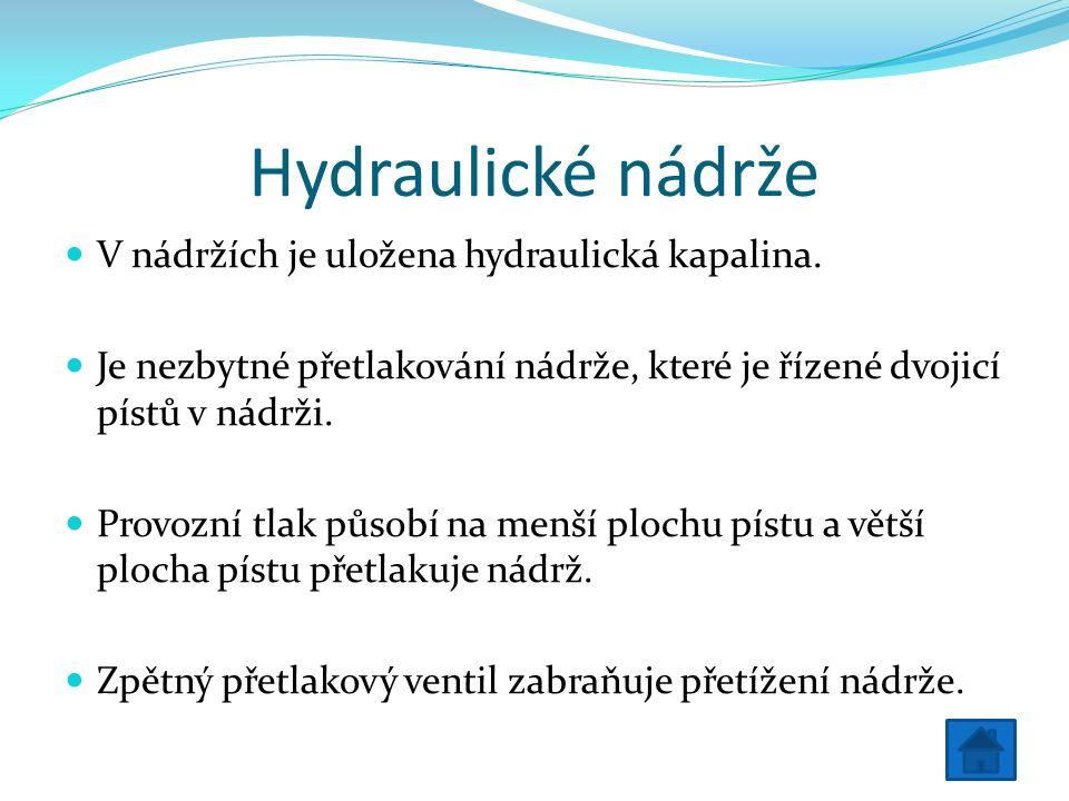 Hydraulické nádrže V nádržích je uložena hydraulická kapalina.