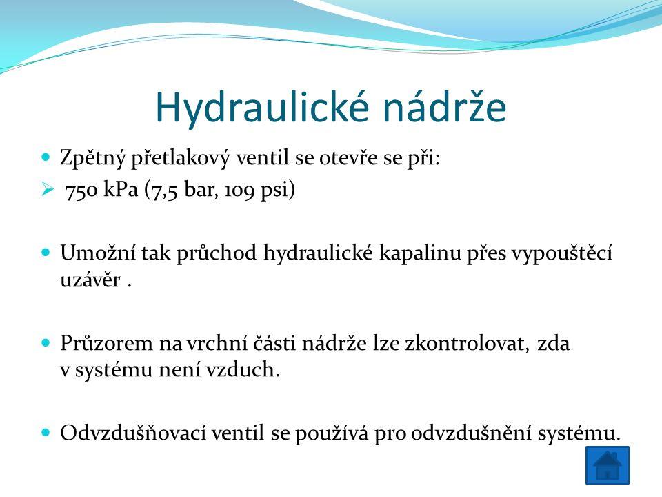 Hydraulické nádrže Zpětný přetlakový ventil se otevře se při:  750 kPa (7,5 bar, 109 psi) Umožní tak průchod hydraulické kapalinu přes vypouštěcí uzávěr.