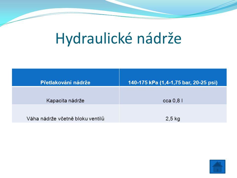 Hydraulické nádrže Přetlakování nádrže140-175 kPa (1,4-1,75 bar, 20-25 psi) Kapacita nádržecca 0,8 l Váha nádrže včetně bloku ventilů2,5 kg