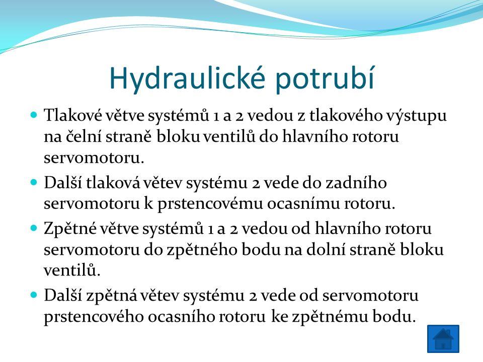 Hydraulické potrubí Tlakové větve systémů 1 a 2 vedou z tlakového výstupu na čelní straně bloku ventilů do hlavního rotoru servomotoru.