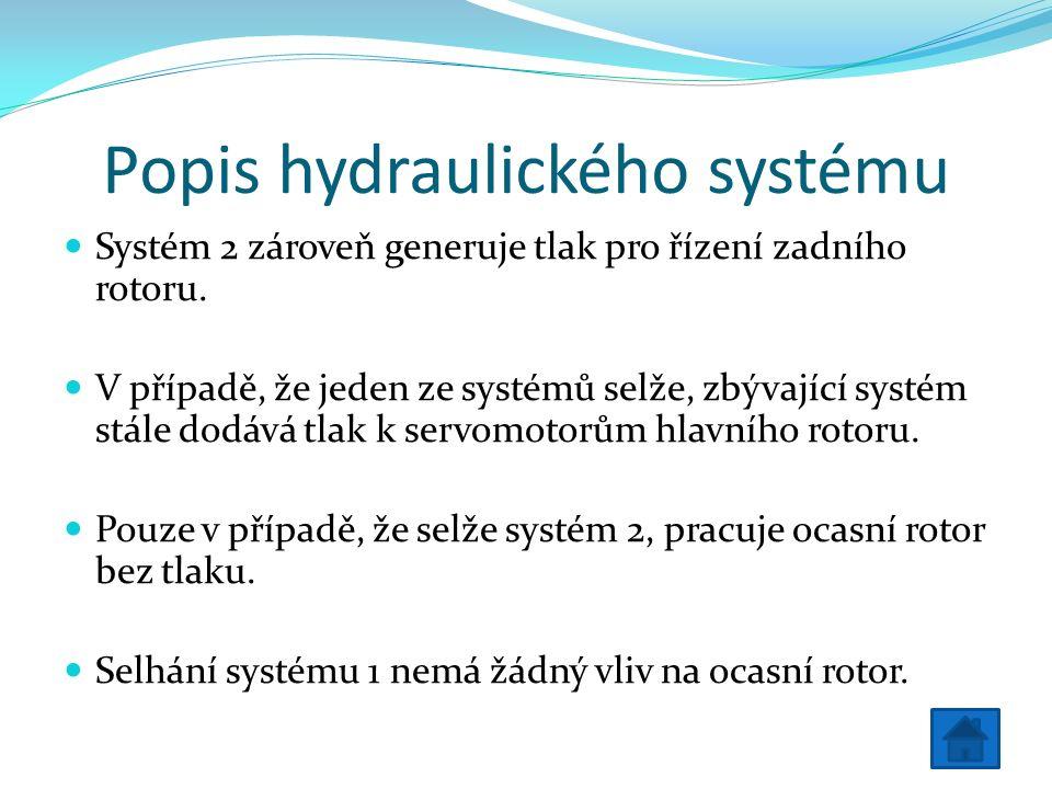 Popis hydraulického systému Systém 2 zároveň generuje tlak pro řízení zadního rotoru.