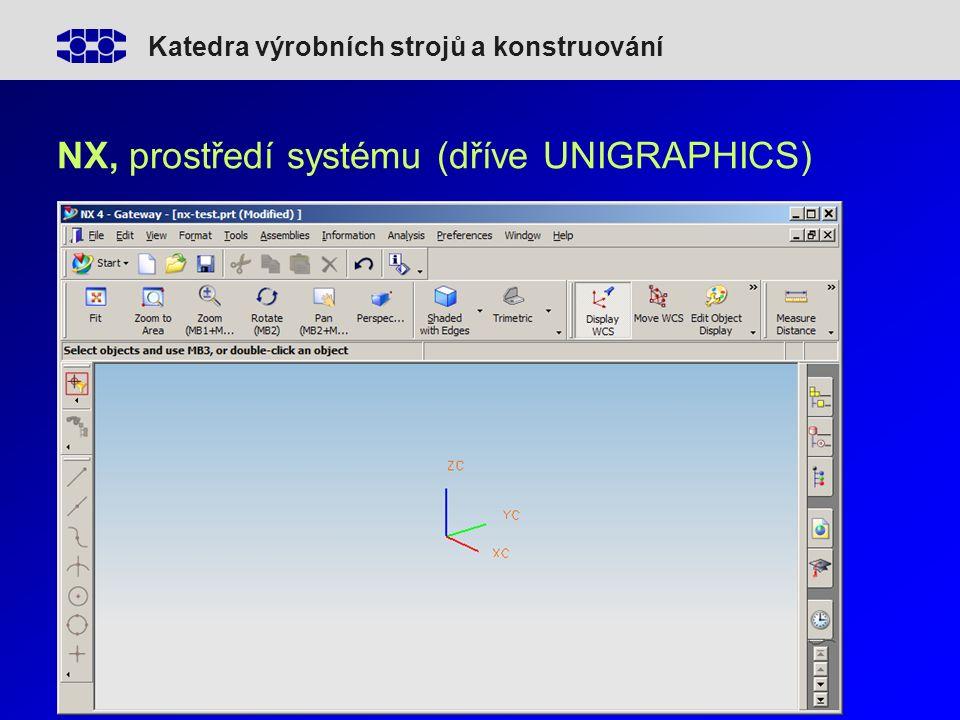 Katedra výrobních strojů a konstruování NX, prostředí systému (dříve UNIGRAPHICS)