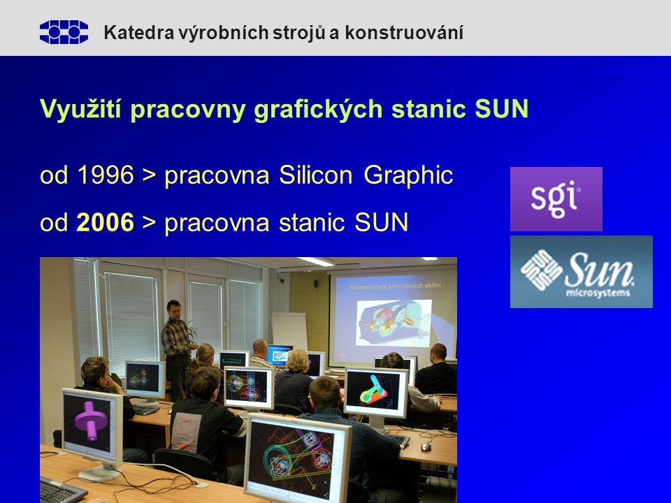 Katedra výrobních strojů a konstruování Využití pracovny grafických stanic SUN od 1996 > pracovna Silicon Graphic od 2006 > pracovna stanic SUN