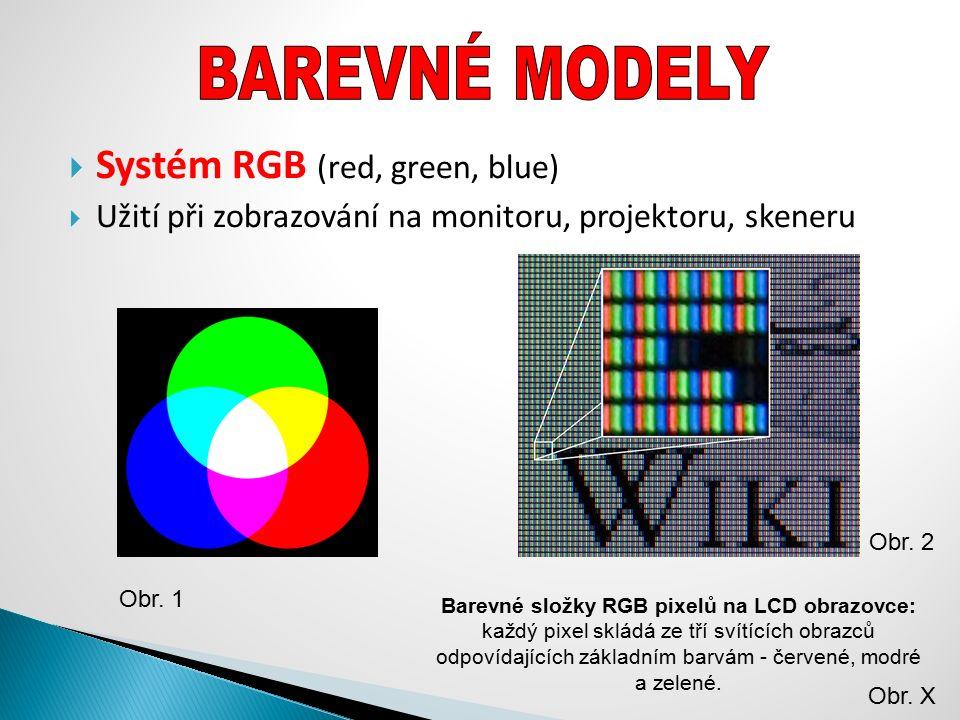  Systém RGB (red, green, blue)  Užití při zobrazování na monitoru, projektoru, skeneru Obr. 1 Barevné složky RGB pixelů na LCD obrazovce: každý pixe