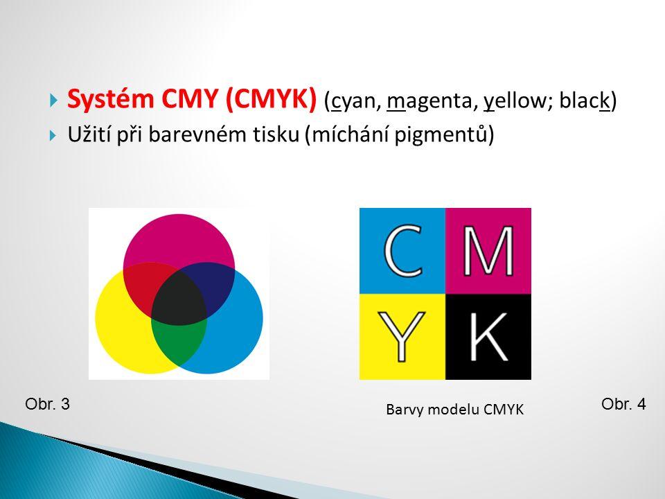  Systém CMY (CMYK) (cyan, magenta, yellow; black)  Užití při barevném tisku (míchání pigmentů) Obr. 3 Barvy modelu CMYK Obr. 4