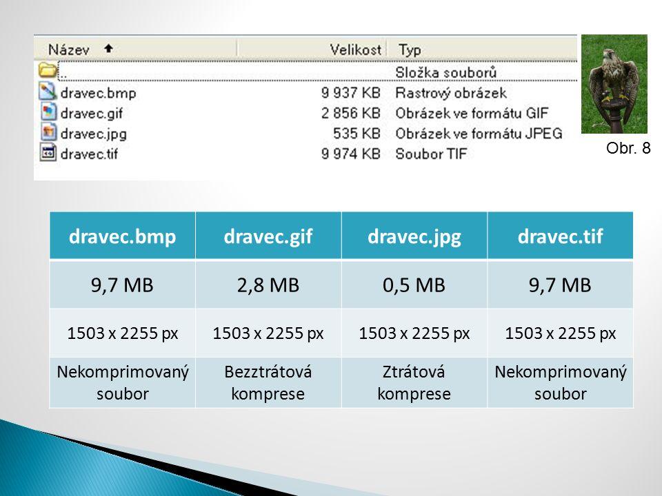 dravec.bmpdravec.gifdravec.jpgdravec.tif 9,7 MB2,8 MB0,5 MB9,7 MB 1503 x 2255 px Nekomprimovaný soubor Bezztrátová komprese Ztrátová komprese Nekompri