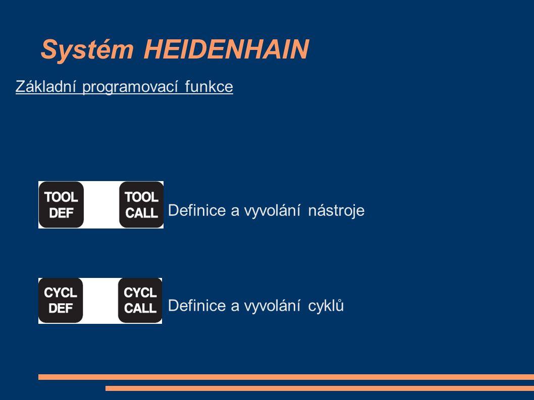 Systém HEIDENHAIN Základní programovací funkce Definice a vyvolání nástroje Definice a vyvolání cyklů