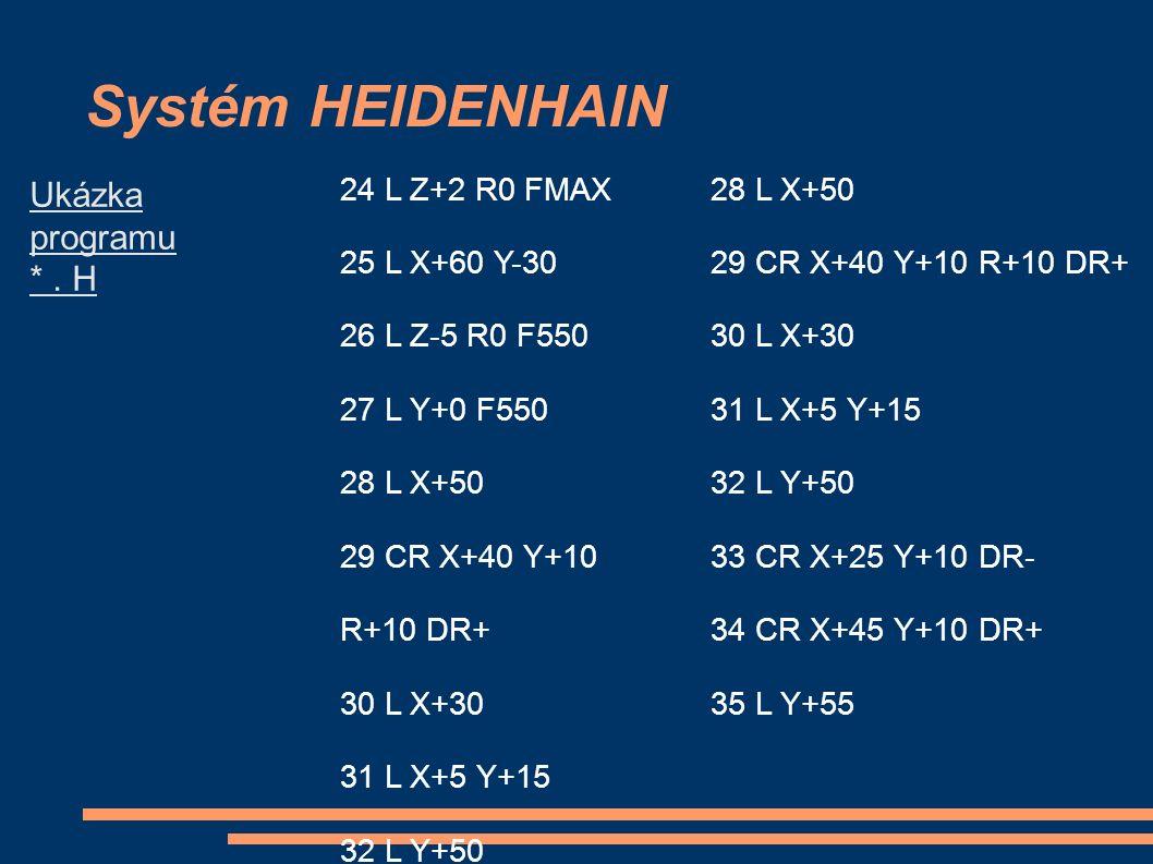 Systém HEIDENHAIN 24 L Z+2 R0 FMAX 25 L X+60 Y-30 26 L Z-5 R0 F550 27 L Y+0 F550 28 L X+50 29 CR X+40 Y+10 R+10 DR+ 30 L X+30 31 L X+5 Y+15 32 L Y+50 35 L Y+55 36 L X+55 Y+65 37 L X+95 28 L X+50 29 CR X+40 Y+10 R+10 DR+ 30 L X+30 31 L X+5 Y+15 32 L Y+50 33 CR X+25 Y+10 DR- 34 CR X+45 Y+10 DR+ 35 L Y+55 Ukázka programu *.