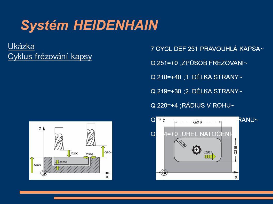 Systém HEIDENHAIN 7 CYCL DEF 251 PRAVOUHLÁ KAPSA~ Q 251=+0 ;ZPŮSOB FREZOVANI~ Q 218=+40 ;1. DÉLKA STRANY~ Q 219=+30 ;2. DÉLKA STRANY~ Q 220=+4 ;RÁDIUS