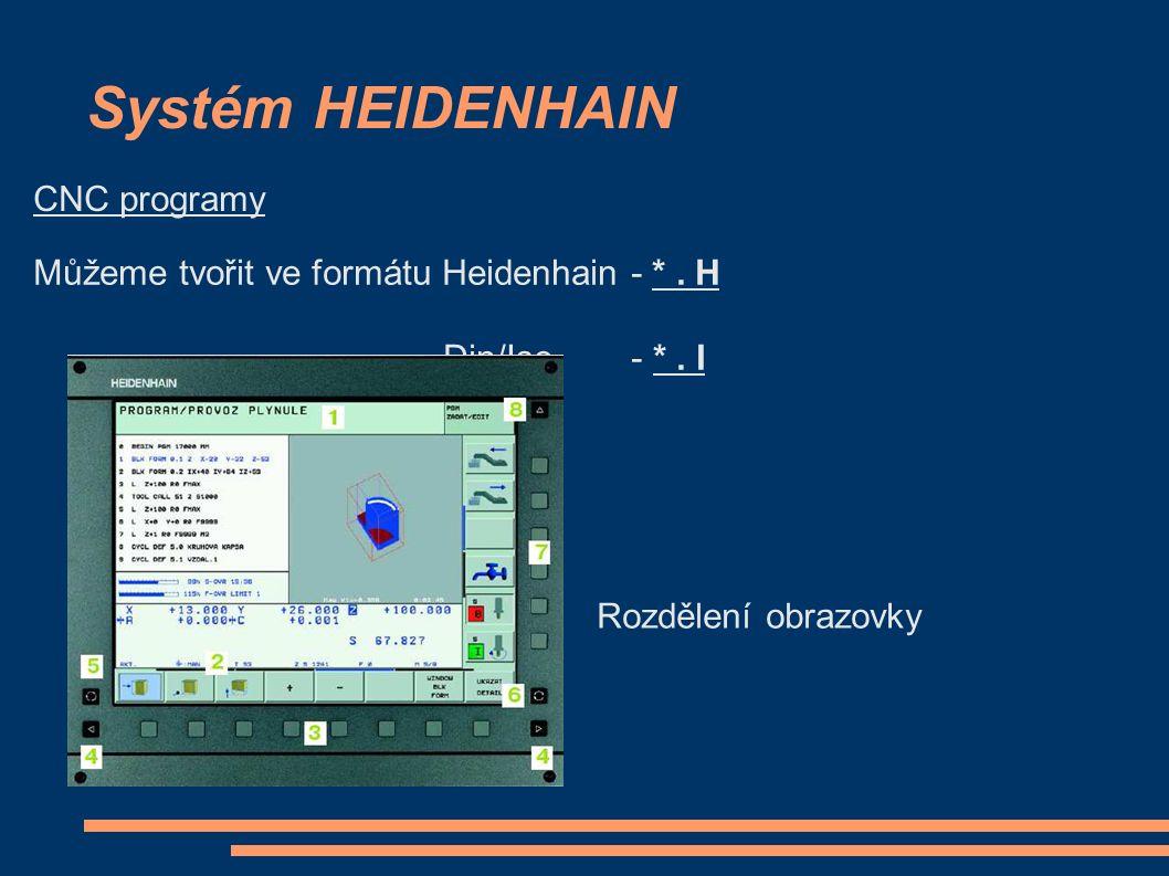 Systém HEIDENHAIN CNC programy Můžeme tvořit ve formátu Heidenhain - *. H Din/Iso - *. I Rozdělení obrazovky