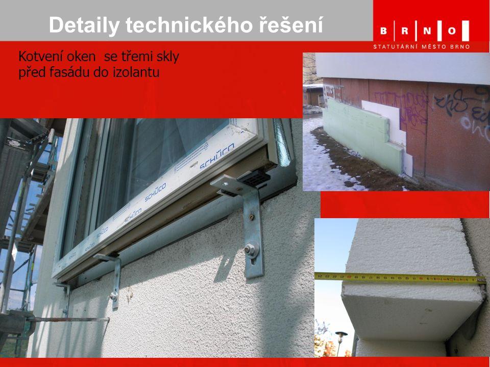 Detaily technického řešení Kotvení oken se třemi skly před fasádu do izolantu