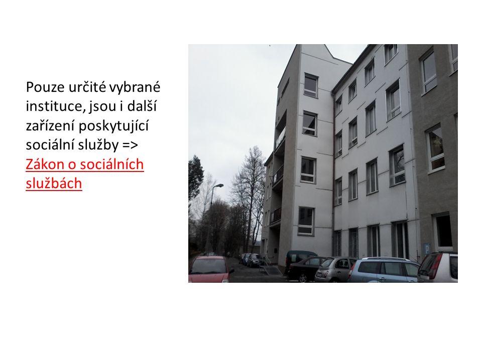 Pouze určité vybrané instituce, jsou i další zařízení poskytující sociální služby => Zákon o sociálních službách
