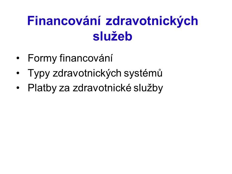 Financování zdravotnických služeb Formy financování Typy zdravotnických systémů Platby za zdravotnické služby