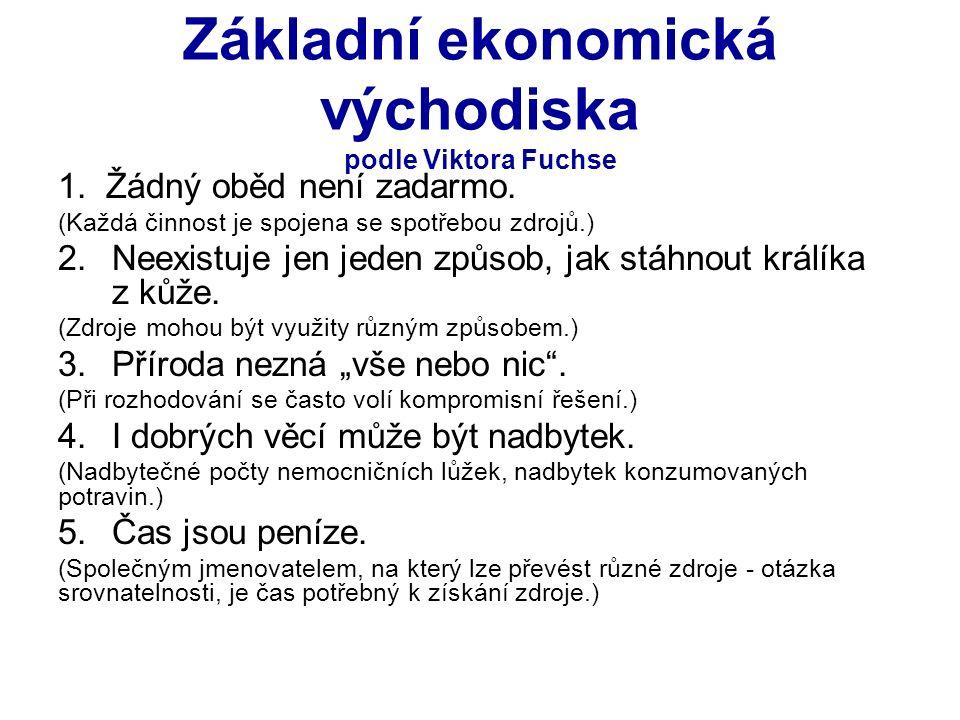 Základní ekonomická východiska podle Viktora Fuchse 1.Žádný oběd není zadarmo.