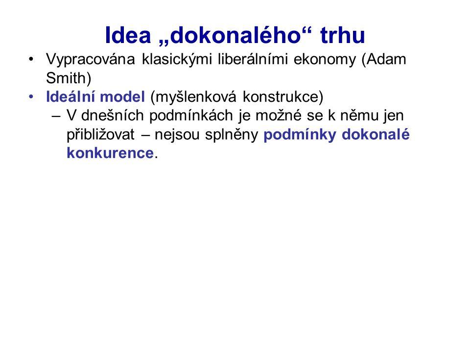 """Idea """"dokonalého trhu Vypracována klasickými liberálními ekonomy (Adam Smith) Ideální model (myšlenková konstrukce) –V dnešních podmínkách je možné se k němu jen přibližovat – nejsou splněny podmínky dokonalé konkurence."""